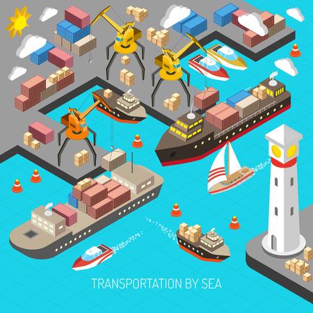 barco caricatura: Transporte marítimo y logística concepto con los transportistas de contenedores y carga isométrica ilustración vectorial
