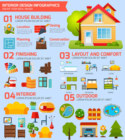 Interior design infographics set with house building interior and outdoor symbols vector illustration Illustration