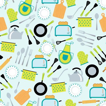 Hausgemachte Küche Küchenzubehör Werkzeuge Ausrüstung und Utensilien dekorative nahtlose Wickelpapier Kachelbarer Muster abstrakte Vektor-Illustration