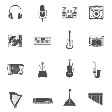 equipo de sonido: Instrumentos musicales y melodías de iconos de color blanco negro conjunto con la guitarra violín y equipo de música ilustración vectorial aislado plana Vectores
