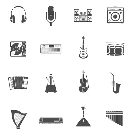tunes: Musical Instruments and tunes black white icons set with violin guitar and stereo system flat isolated vector illustration Illustration