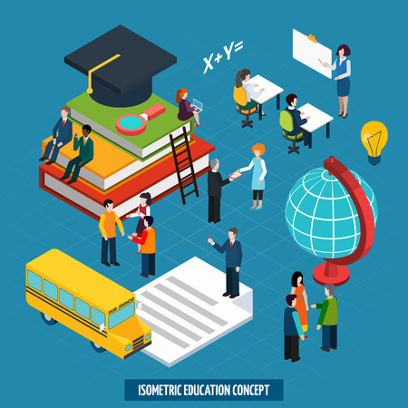 school globe: High school college education concept with teacher whiteboard presentation and graduation cap isometric banner abstract vector illustration