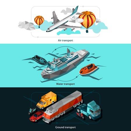 transporte terrestre: Transportar banners horizontales establecidas con veh�culos de agua aire y tierra isom�tricos poli bajas aislado ilustraci�n vectorial