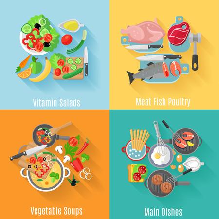 Home cooking hoofdgerechten en fruit salades 4 vlakke pictogrammen vierkante samenstelling banner abstract geïsoleerde vector illustratie