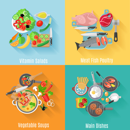 dishes: Home cooking main dishes and vegetable salads 4 flat icons square composition banner abstract isolated vector illustration