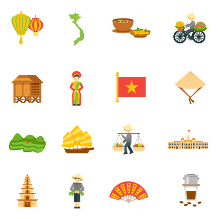 Iconos del recorrido de Vietnam fijó con el alimento palacio y la ilustración del mapa vectorial aislados plana Vectores
