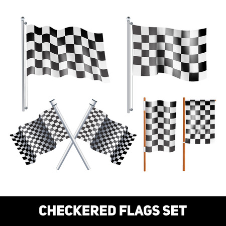 shaft: White and black checkered flags on shaft and pole realistic color decorative icon set isolated vector illustration Illustration