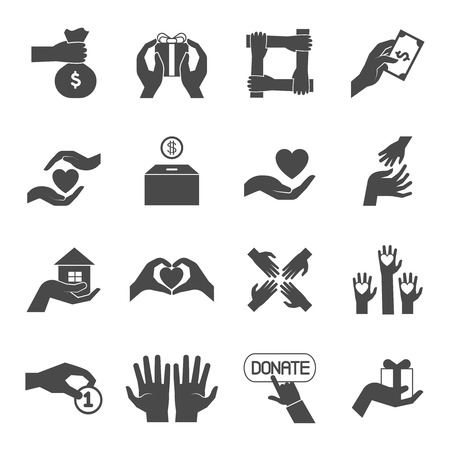 charity collection: Long hands giving help love and support black icons set for charity  project abstract vector isolated illustration