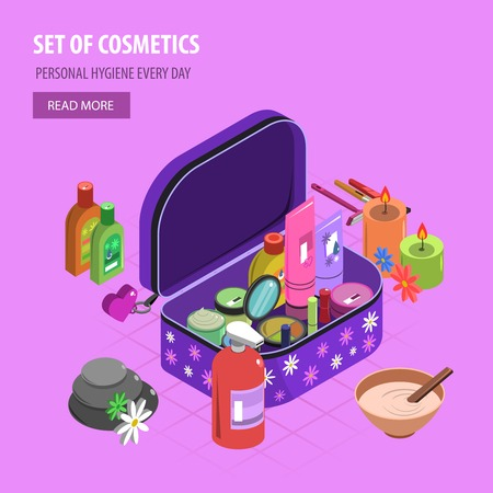 bodycare: Bodycare bag isometric with fashion and cosmetic accessory set vector illustration