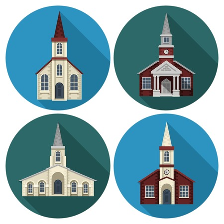 religions: Church building flat round long shadow icons set isolated vector illustration Illustration