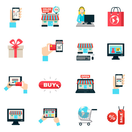 retail sales: Internet shopping online store and delivery service symbols flat color icon set isolated vector illustration