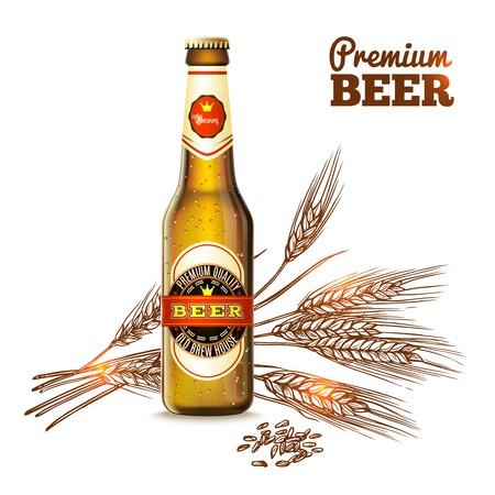 Concetto di birra con bottiglie realistiche e frumento schizzo orecchie su sfondo illustrazione vettoriale