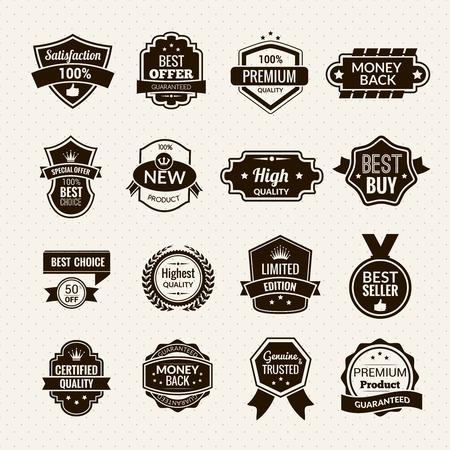 ruban noir: Luxe et de biens de premi�re qualit� �tiquettes noire ensemble isol� illustration vectorielle