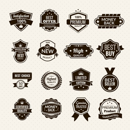 quality: Luxury and premium quality goods labels black set isolated vector illustration