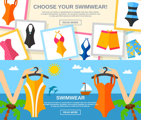 swimwear: Summer female fashion clothing with choose your swimwear text flat color horizontal banner set isolated vector illustration