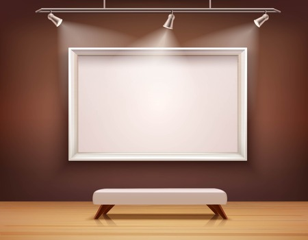 painting on wall: Art gallery interior with white picture frame and bench vector illustration