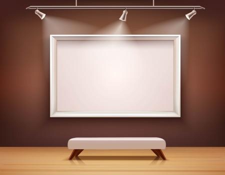 kunst: Kunstgalerie Interieur mit weißen Bilderrahmen und Bank Vektor-Illustration