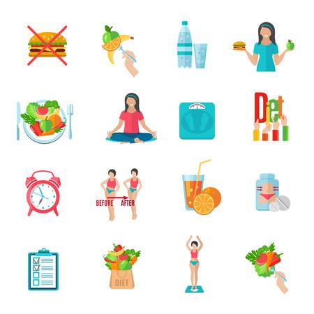 dieta sana: Iconos planos pérdida de peso plan de dieta saludable establecen con alimentos naturales y escalas aisladas ilustración vectorial abstracto Vectores