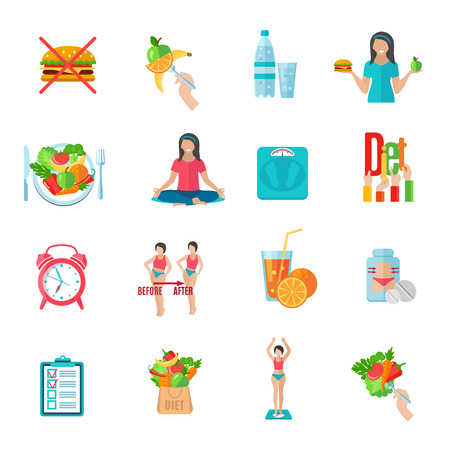 diet food: Weight loss healthy diet plan flat icons set with natural food and scales abstract  isolated vector illustration