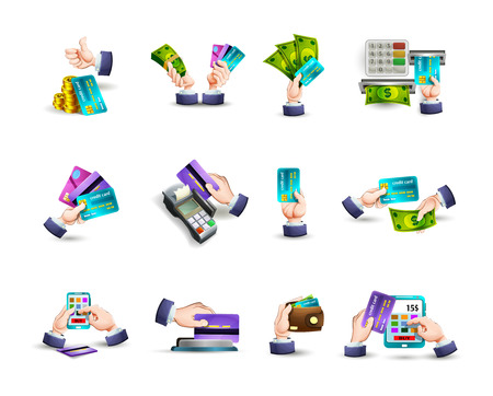 cash: Hands concept electronic cash  and online paying options with credit cards pictograms collection abstract vector isolated illustration Illustration