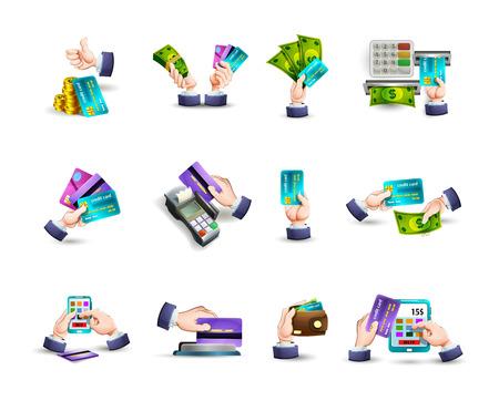 cash money: Manos concepto de dinero electrónico y el pago de las opciones con las tarjetas de crédito en línea pictogramas colección abstracta del vector aislado Ilustración