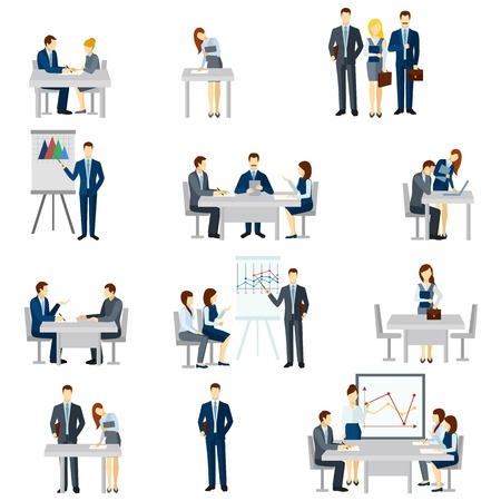 people laptop: Business coaching icons set with discussion diagrams and team flat isolated vector illustration