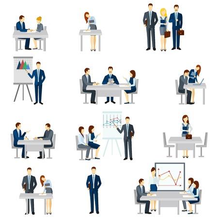 Icônes de coaching d'affaires établis avec des diagrammes de discussion et de l'équipe plate isolée illustration vectorielle Vecteurs