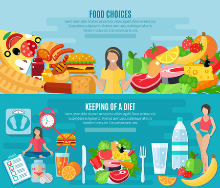 gordo: La elecci�n de alimentos saludables para mantener la dieta baja en grasa 2 banners horizontales planas conjunto aislado abstracta ilustraci�n vectorial
