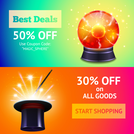 magic ball: Shopping sale horizontal banner set with magic equipment isolated vector illustration