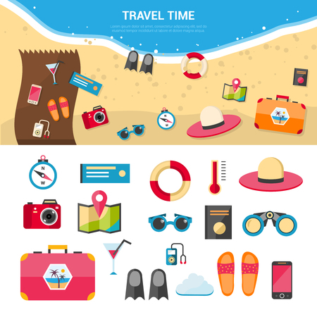 trip: Summer vacation and sea resort travel concept with flat icons set isolated vector illustration