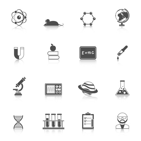 scholarship: Science study research and scholarship devices and accessories flat black with reflection icon set isolated vector illustration Illustration