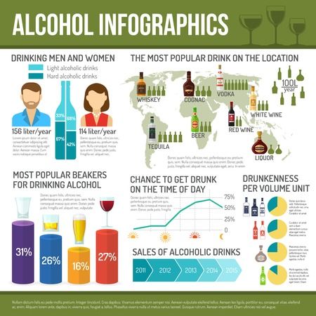 alcohol bottle: Alcohol infographics set with cocktail drink symbols and charts vector illustration