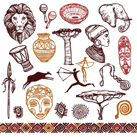 Afrika doodle Symbole mit Löwenmaske Trommeln isoliert Vektor-Illustration gesetzt Standard-Bild - 44437443