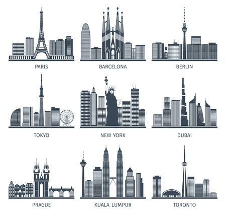Urban skylines black white icons set with Paris Berlin and New York flat isolated vector illustration Illustration