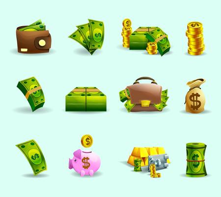 cash: Métodos de pago Efectivo iconos planos establecidos con el símbolo saco ahorro y billetes verdes abstracto vector ilustración aislada Vectores
