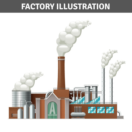 factory: Realistic factory building illustration with steam and cooling system vector illustration