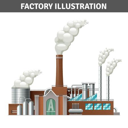 Realistische fabrieksgebouw illustratie met stoom en koelsysteem vector illustratie
