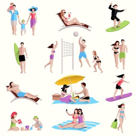 ビーチ サーフィン アイコン セットをジョギングを再生の人々 分離ベクトル図  イラスト・ベクター素材