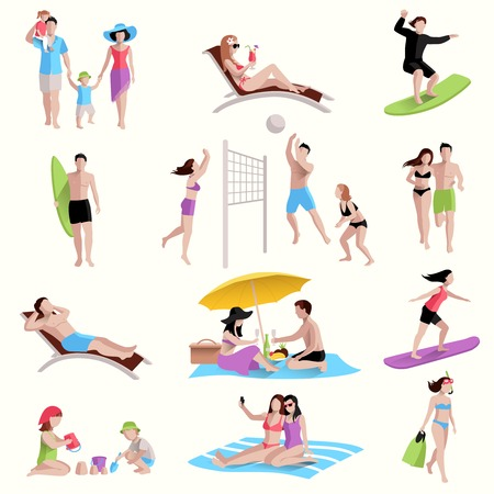 People on beach playing jogging surfing icons set isolated vector illustration Vettoriali