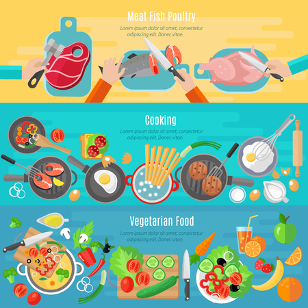meat dish: Healthy vegetarian diet dishes and meat fish poultry home cooking flat banners set abstract isolated vector illustration