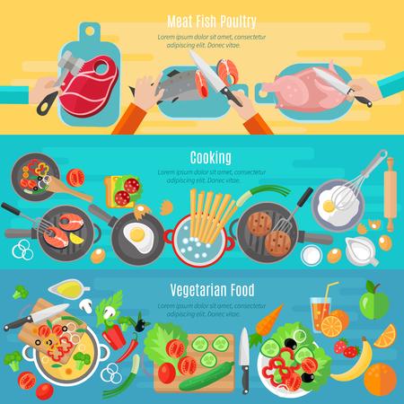 planos: Platos de dieta vegetariana saludable y aves pescado carne casa cocina banderas planas conjunto aislado abstracta ilustraci�n vectorial