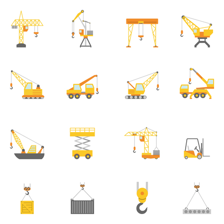 Cranes in construction industry flat icons set with truck mounted and tower crane abstract isolated vector illustration Vettoriali