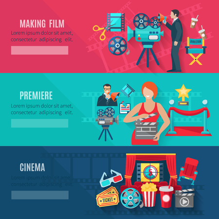 Filmmaking and premiere horizontal banners set with cinema tickets cameras and awards flat isolated vector illustration
