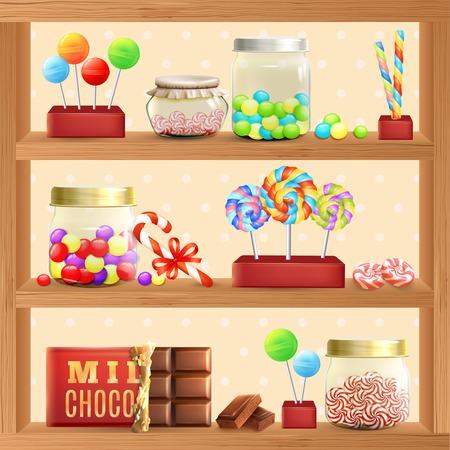 golosinas: Estante de la tienda dulce con bombones de chocolate y piruletas ilustración vectorial