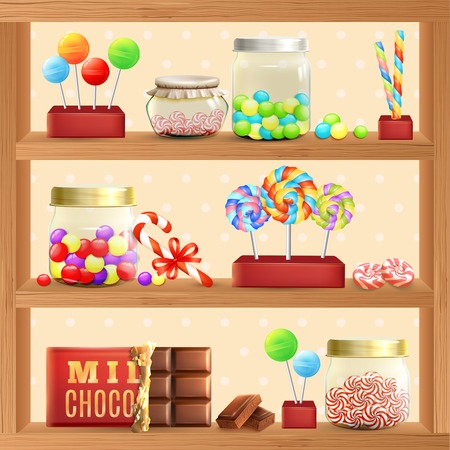 Sweet store shelf with bonbons chocolate and lollipops vector illustration Stock Illustratie