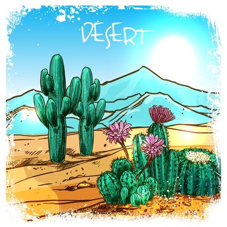 背景に山とメキシコの砂漠のサボテンはベクトル図をスケッチします。