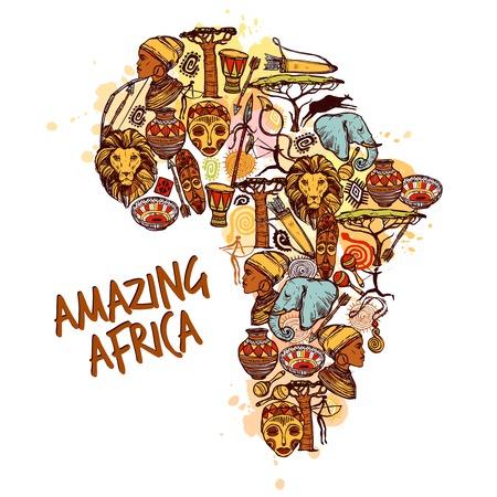 continente africano: Concepto de África, con símbolos africanos croquis en continente ilustración forma vectorial
