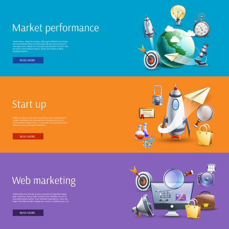 webpage: Start up business strategic marketing ideas concept flat banners set interactive webpage design abstract isolated vector illustration