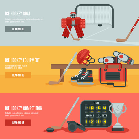 ice: Ice hockey horizontal banners set with equipment cup and goal flat isolated vector illustration Illustration