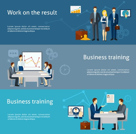 Business coaching and personnel training as  effective management strategy  flat banners set poster abstract isolated vector illustration